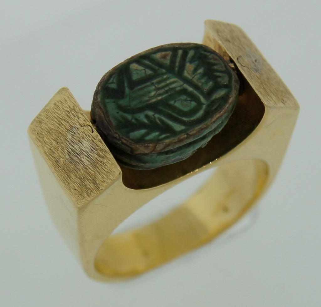 1930s revival carved turquoise and yellow gold