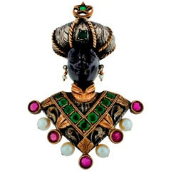 Giulio Nardi Gem Encrusted Silver Gold Blackamoor Pin Brooch