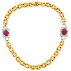 David Webb Cabochon Ruby Diamond & Yellow Gold Necklace / Bracelet