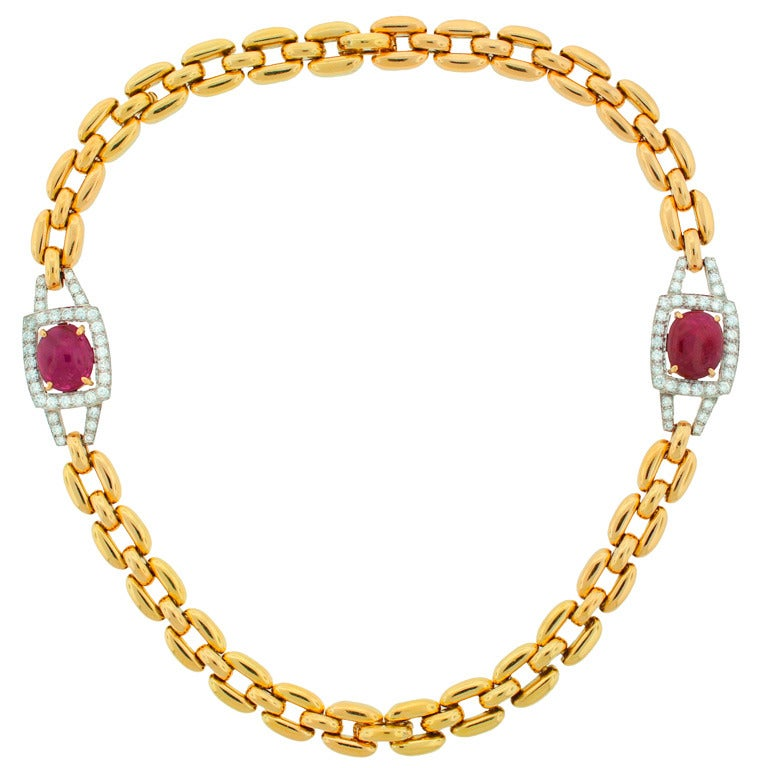 David Webb Cabochon Ruby Diamond & Yellow Gold Necklace / Bracelet