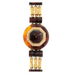 Boucheron Lady's Yellow Gold, Bakelite and Diamond Bracelet Watch circa 1970s