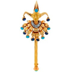 1950's Cartier Turquoise Sapphire Diamond & Yellow Gold Jester Pin Brooch