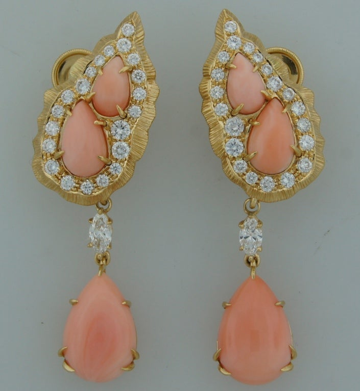 Cartier Coral Diamond Yellow Gold Interchangeable Earrings 3