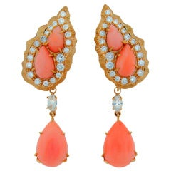 Cartier Coral Diamond Yellow Gold Interchangeable Earrings