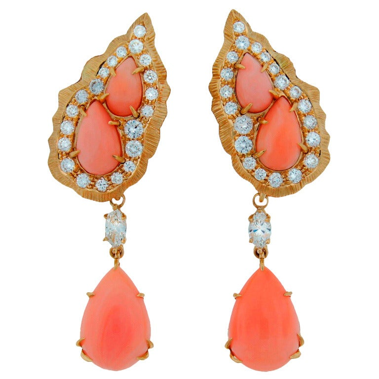 Cartier Coral Diamond Yellow Gold Interchangeable Earrings For Sale