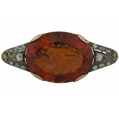c.1900's Carved Citrine Diamond Silver & Gold Brooch Pin