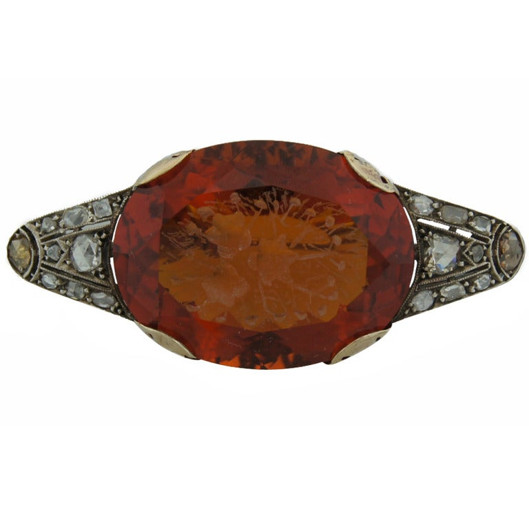 c.1900's Carved Citrine Diamond Silver & Gold Brooch Pin For Sale