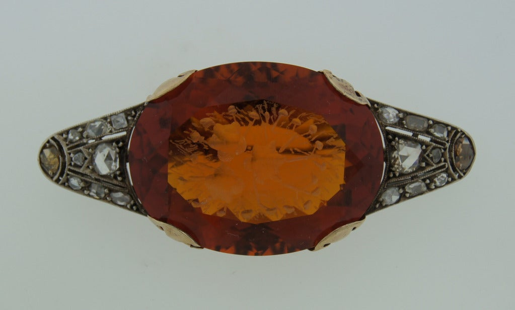 c.1900's Carved Citrine Diamond Silver & Gold Brooch Pin In Excellent Condition For Sale In Beverly Hills, CA