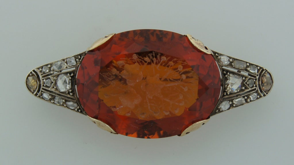 Women's c.1900's Carved Citrine Diamond Silver & Gold Brooch Pin For Sale