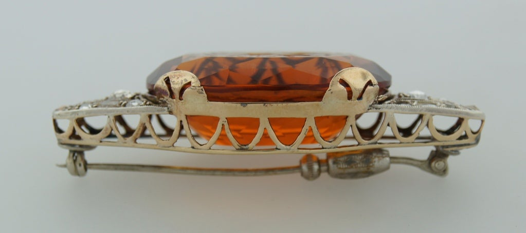 c.1900's Carved Citrine Diamond Silver & Gold Brooch Pin For Sale 1