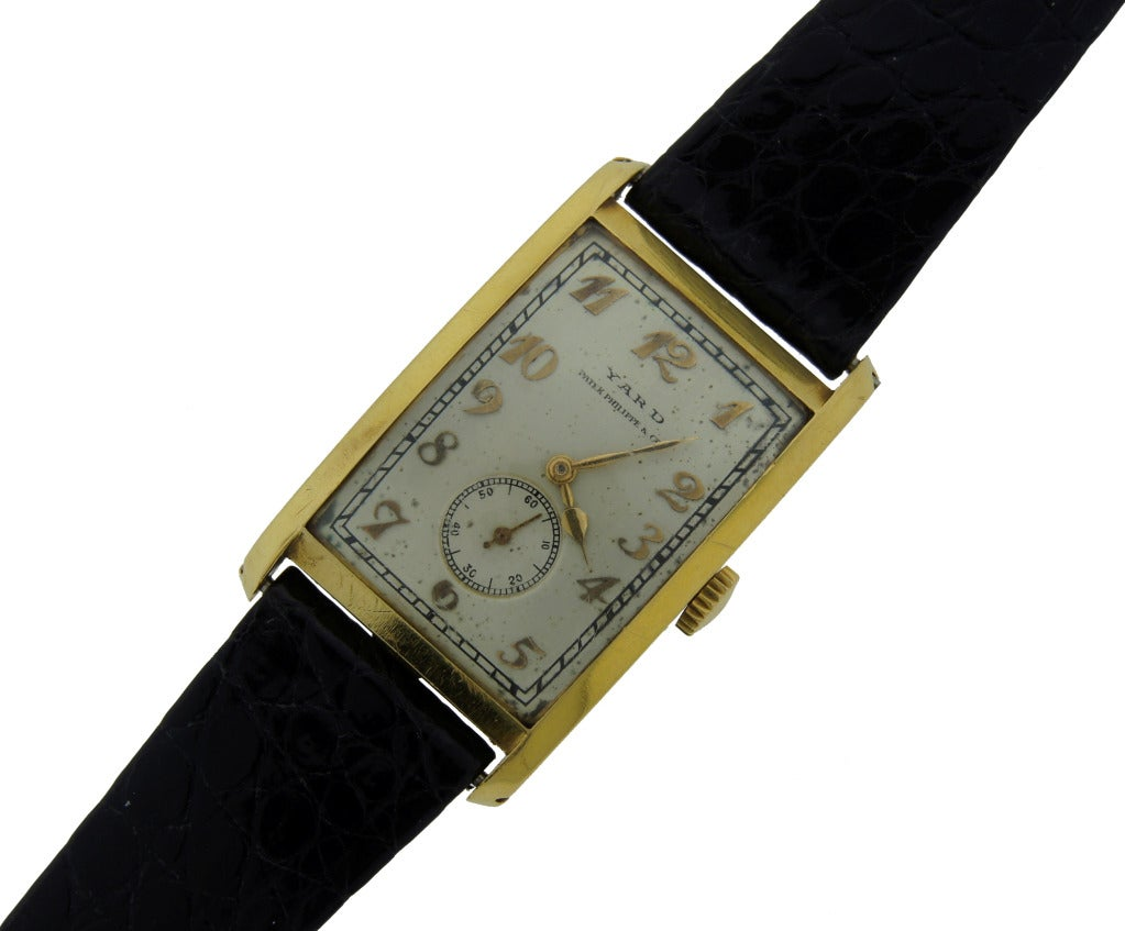 Patek Philippe wristwatch created in the 1930s and retailed by Yard. Rectangular case, Arabic numerals, manual-wind movement, 18 jewels, numbered 825612. Case 26 mm (without crown), numbered 616898. Subsidiary seconds hand. Very elegant understated