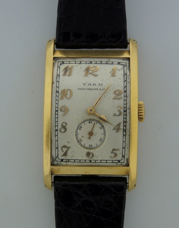 Women's or Men's Patek Philippe Retailed by Yard Yellow Gold manual Wristwatch , circa 1930s For Sale