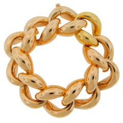 1940's Cartier Yellow Gold Heavy Link Chunky Bracelet