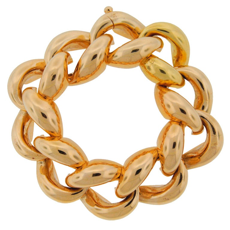 1940's Cartier Yellow Gold Heavy Link Chunky Bracelet at ...