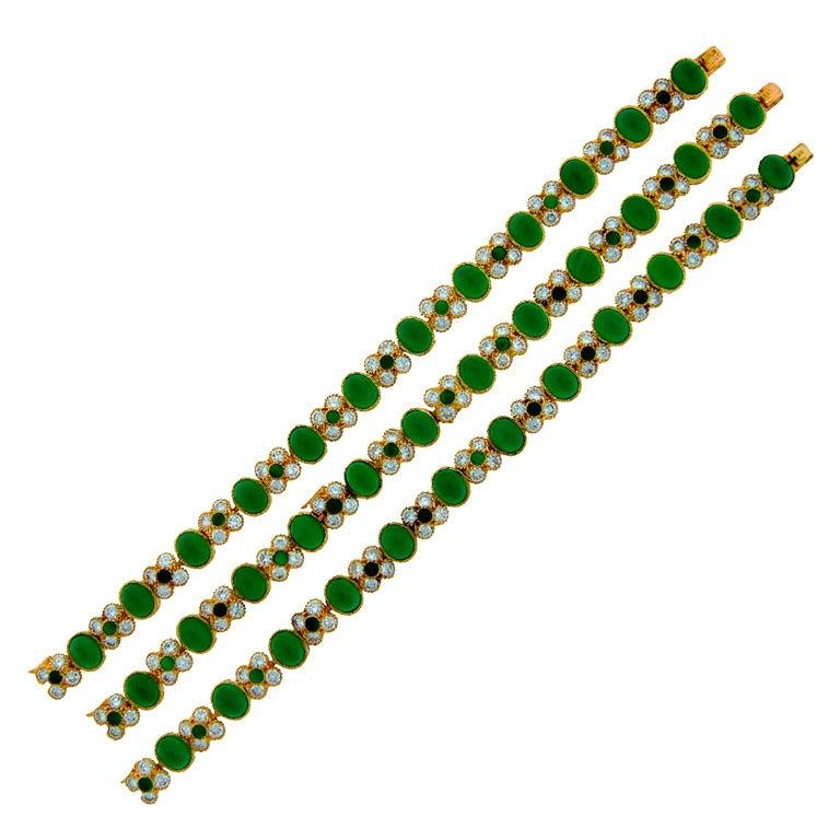 c.1980's Van Cleef & Arpels Chrysophrase Diamond & Gold Necklace / Bracelet Trio