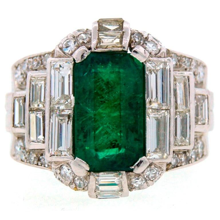 1960s bulgari emerald platinum ring at 1stdibs