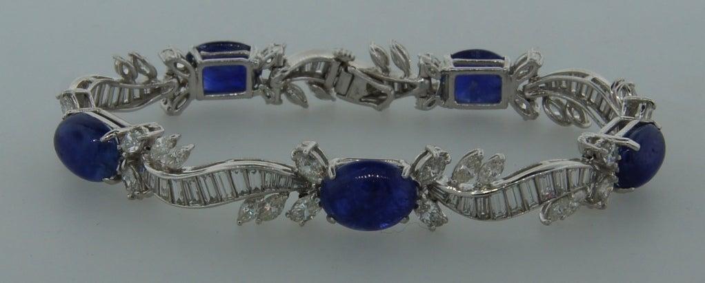 1960s Van Cleef & Arpels Cabochon Sapphire Diamond and Platinum Bracelet 3