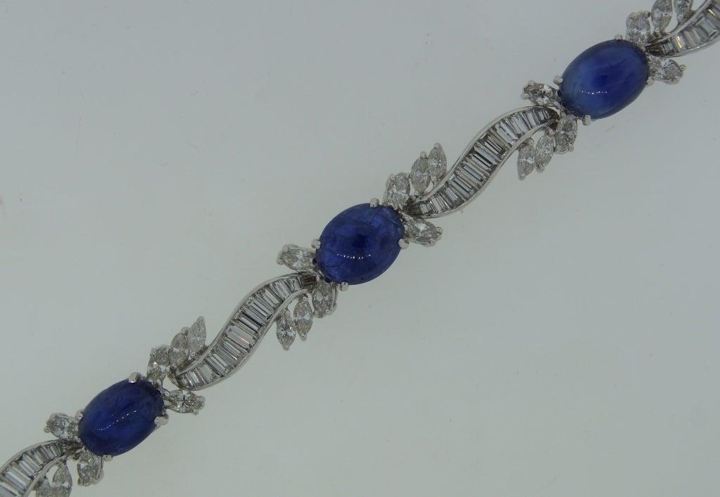 1960s Van Cleef & Arpels Cabochon Sapphire Diamond and Platinum Bracelet 4