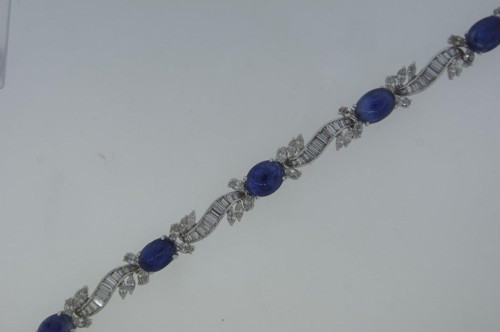 1960s Van Cleef & Arpels Cabochon Sapphire Diamond and Platinum Bracelet 5