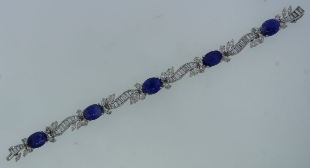 1960s Van Cleef & Arpels Cabochon Sapphire Diamond and Platinum Bracelet 6