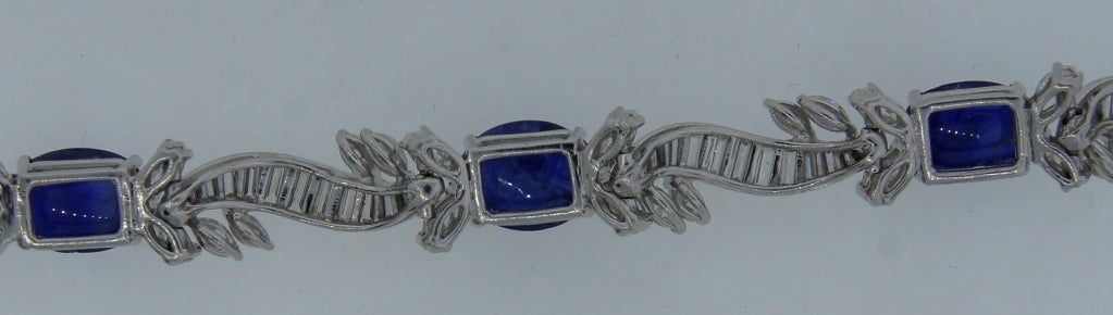 1960s Van Cleef & Arpels Cabochon Sapphire Diamond and Platinum Bracelet 7