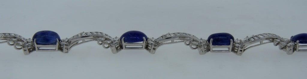 1960s Van Cleef & Arpels Cabochon Sapphire Diamond and Platinum Bracelet 8