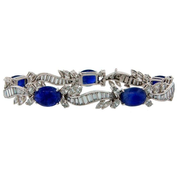 1960s Van Cleef & Arpels Cabochon Sapphire Diamond and Platinum Bracelet 1