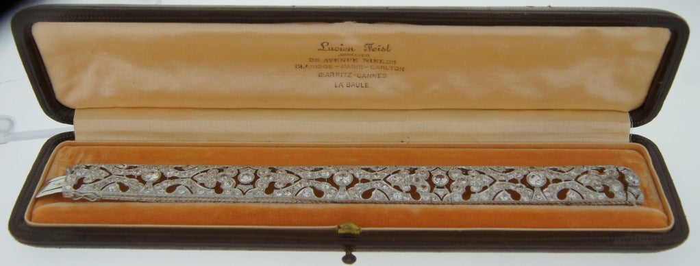 1920s Fontana Art Deco Diamond Platinum Bracelet 8