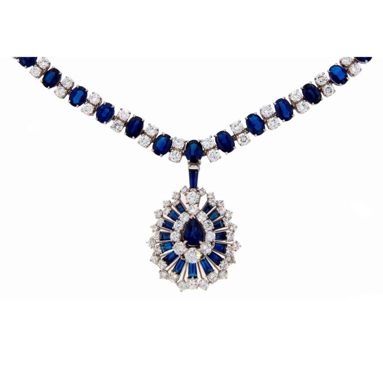 Oscar Heyman Sapphire Diamond Platinum Necklace / Bracelet / Brooch - Pin / Pendant c1960s