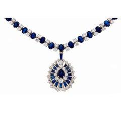 Oscar Heyman Sapphire Diamond Platinum Necklace Bracelet Brooch Pin Pendant