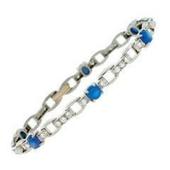 J.E. Caldwell Star Sapphire Diamond Platinum Bracelet c1960s