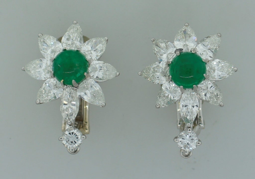 Women's David Webb Emerald Diamond Platinum Earrings c1970s For Sale