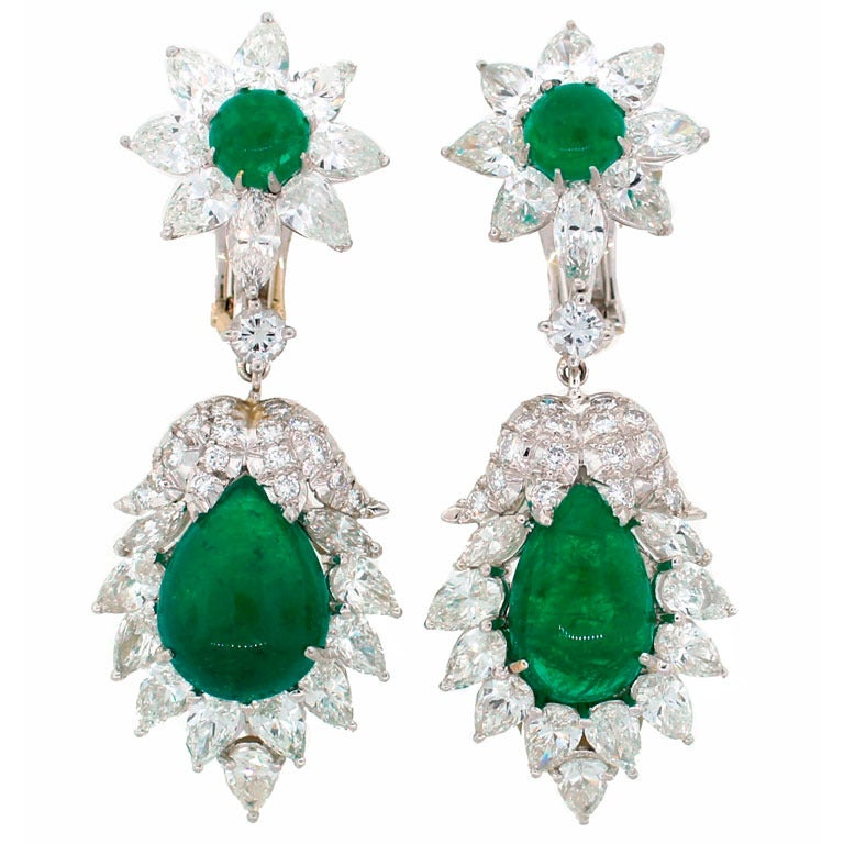 David Webb Emerald Diamond Platinum Earrings c1970s For Sale