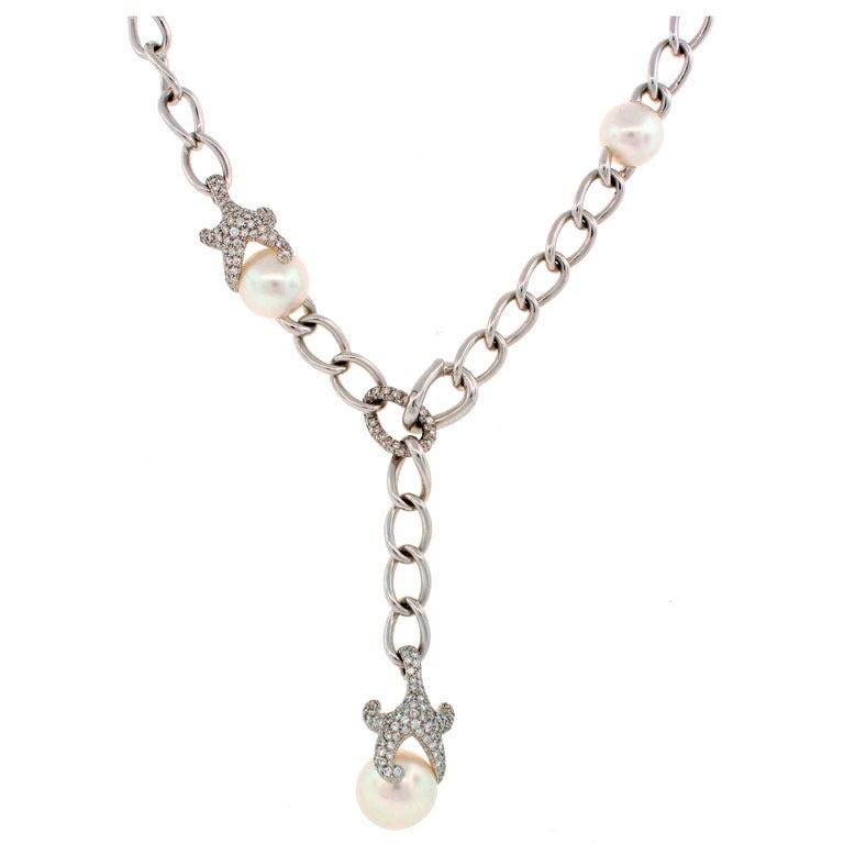 Mikimoto Pearl Diamond White Gold Necklace