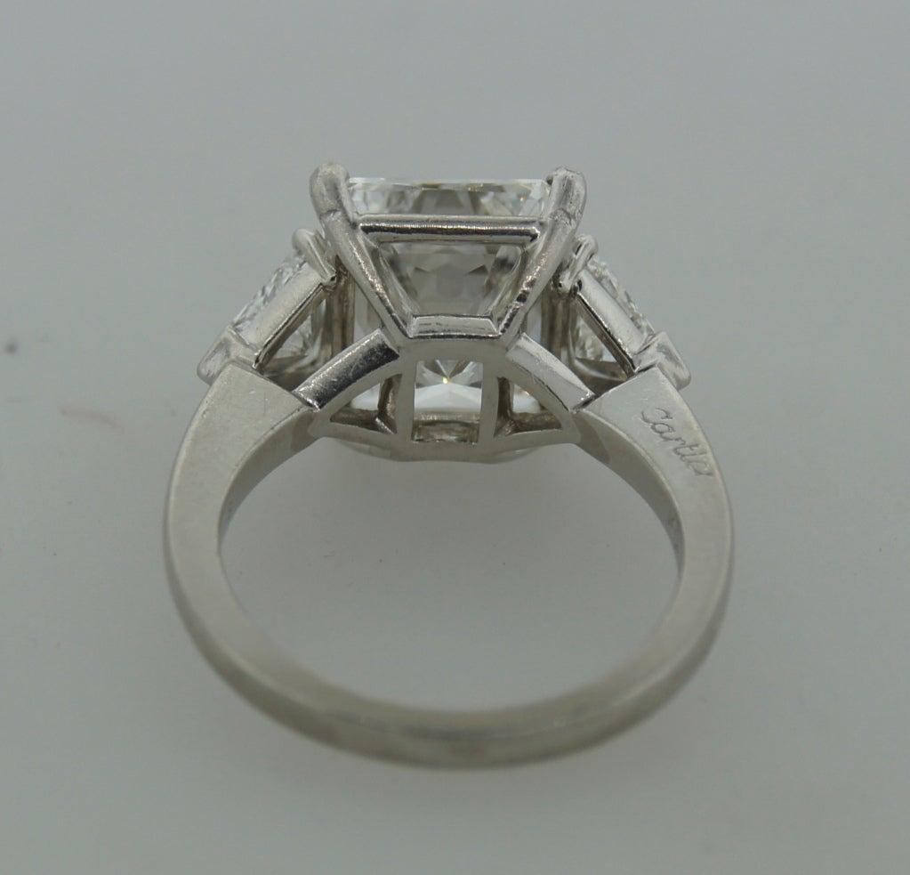 Cartier Diamond Platinum Three-Stone Ring GIA Certificate For Sale 2