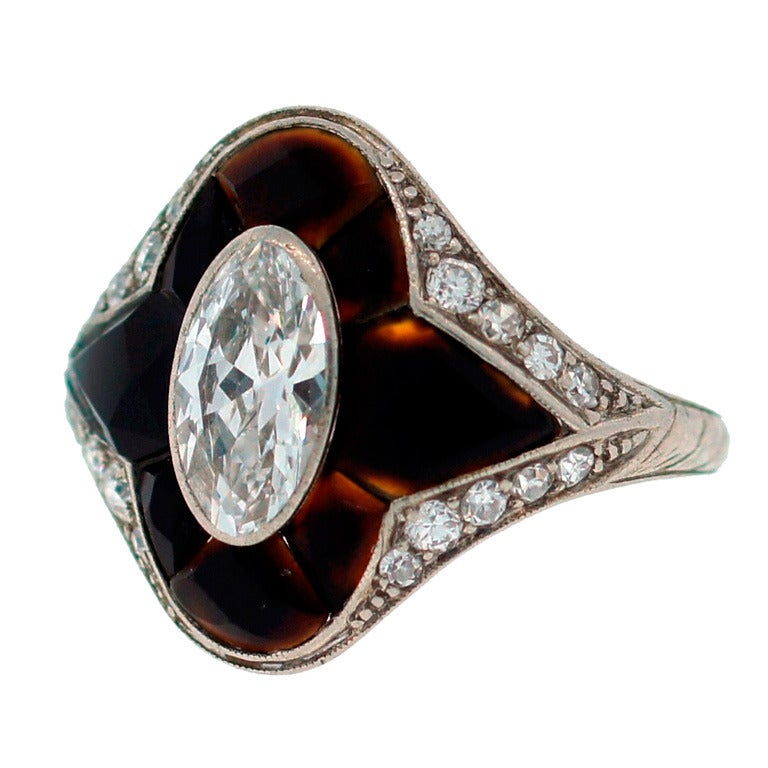 Tiffany And Co Diamond Platinum Horn And Ring C1910s At