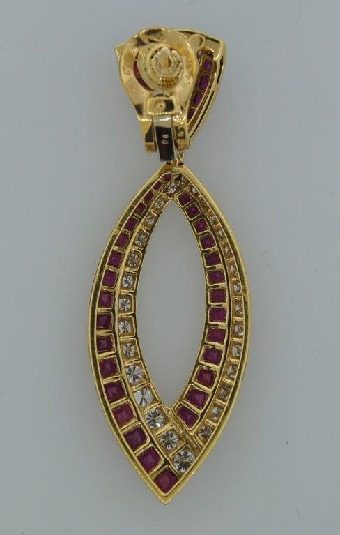 Van Cleef & Arpels Ruby Diamond Yellow Gold Earrings For Sale 2