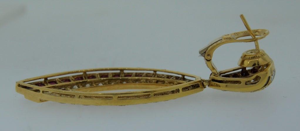 Van Cleef & Arpels Ruby Diamond Yellow Gold Earrings For Sale 3