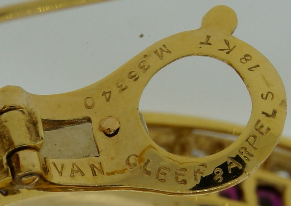 Van Cleef & Arpels Ruby Diamond Yellow Gold Earrings For Sale 4