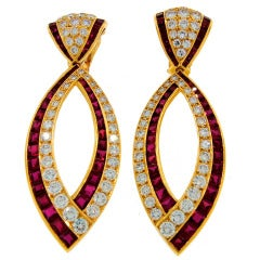 Van Cleef & Arpels Ruby Diamond Yellow Gold Earrings