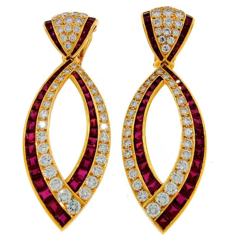 Van Cleef & Arpels Ruby Diamond Yellow Gold Earrings For Sale