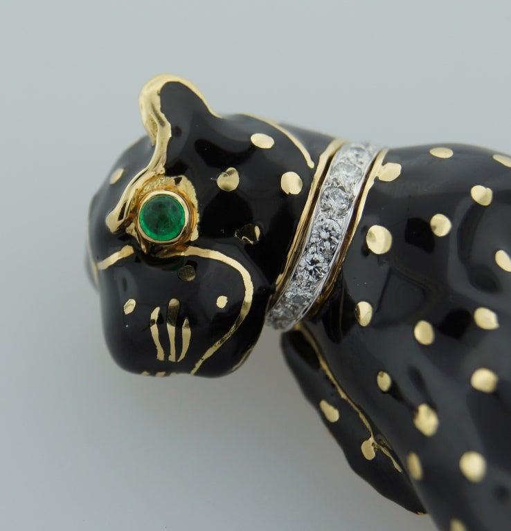 Women's DAVID WEBB Black Enamel Diamond Yellow Gold Panther Pin / Brooch c1970s For Sale