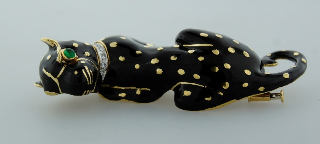 DAVID WEBB Black Enamel Diamond Yellow Gold Panther Pin / Brooch c1970s For Sale 1