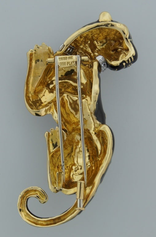 DAVID WEBB Black Enamel Diamond Yellow Gold Panther Pin / Brooch c1970s For Sale 2