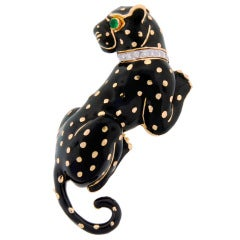 DAVID WEBB Black Enamel Diamond Yellow Gold Panther Pin / Brooch c1970s