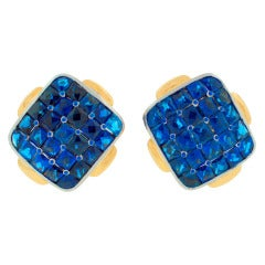 1970's DAVID WEBB Sapphire Platinum & Yellow Gold Earrings