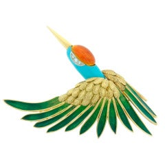 1950s Mauboussin Enamel Diamond Yellow Gold Stork Pin Brooch