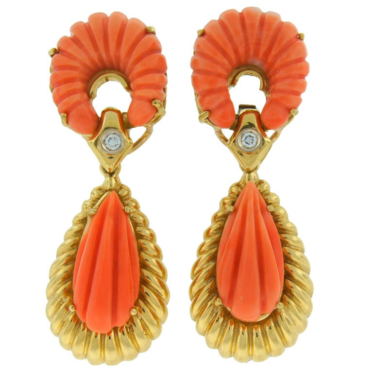 Van Cleef & Arpels Carved Coral Diamond Yellow Gold Earrings VCA 1970s