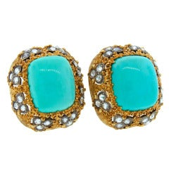 1960s MARIO BUCCELLATI Turquoise Diamond & Yellow Gold Earrings