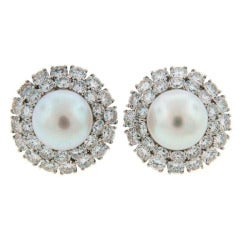 Harry Winston Pearl Diamond & Platinum Earrings